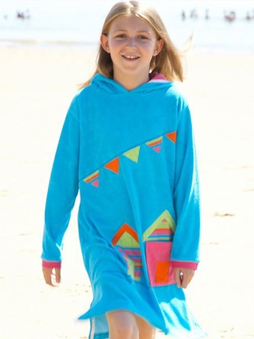 Mitty James Towelling Long Hooded Top - Applique - Beach Huts in Turquoise/Pink