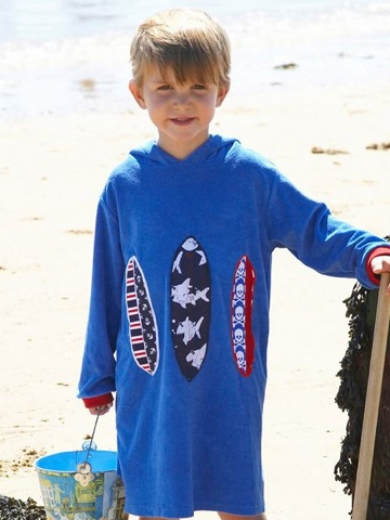 Mitty James Towelling Long Hooded Top - Applique - Mid Blue Surfboard