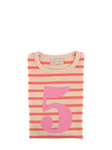 Bob and Blossom Peaches & Cream Breton Striped Number 5 T Shirt
