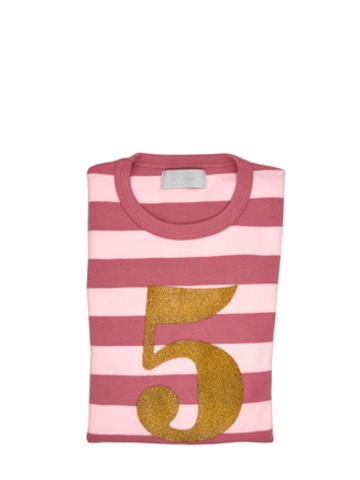 Bob and Blossom Vintage & Powder Pink Striped Number 5 T Shirt