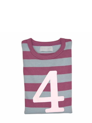 Bob and Blossom Dusty Violet & Dove Grey Striped Number 4 T Shirt