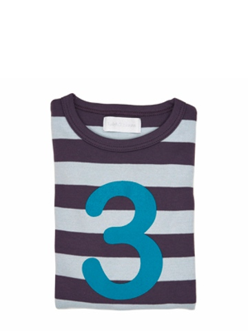 Bob and Blossom Charcoal & Dove Grey Striped Number 3 T Shirt