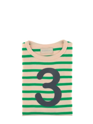 Bob and Blossom Gooseberry & Cream Breton Striped Number 3 T Shirt
