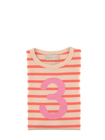 Bob and Blossom Peaches & Cream Breton Striped Number 3 T Shirt