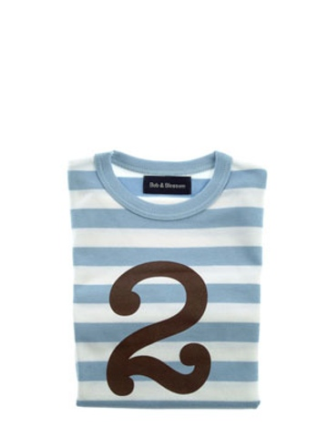 Bob and Blossom Sky Blue & White Striped Number 2 T Shirt