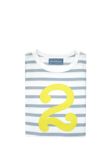 Bob and Blossom Grey & White Breton Striped Yellow Number 2 T Shirt