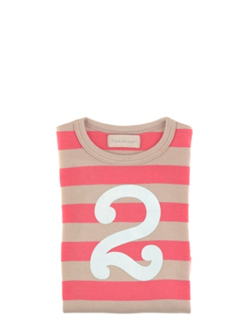 Bob and Blossom Posy Pink & Sand Striped Number 2 T Shirt