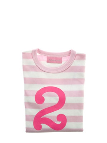 Bob and Blossom Pale Pink & White Striped Number 2 T Shirt
