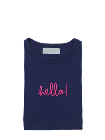 Bob and Blossom Navy Blue 'Hello!' Girls Long Sleeve T  Shirt