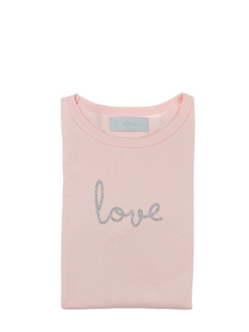 Bob and Blossom Marshmallow 'Love' Long Sleeve Silver Print Kids T Shirt