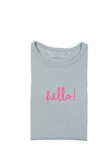 Bob and Blossom Cloud Grey Long Sleeve 'Hello!' Kids T Shirt