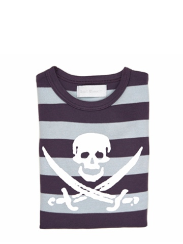 Bob and Blossom Charcoal & Dove Grey Striped Skull T Shirt