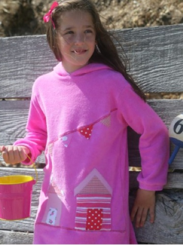 Mitty James Towelling Long Hooded Top - Applique - Beach Hut Pink