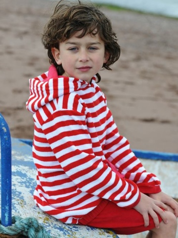 Mitty James Short Hooded Top - Red and White Stripe