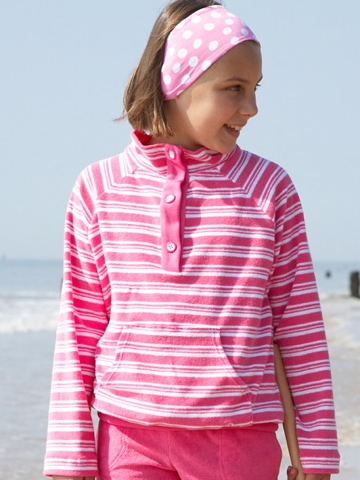 Mitty James Pink Funnel Top - Pink and White Stripe