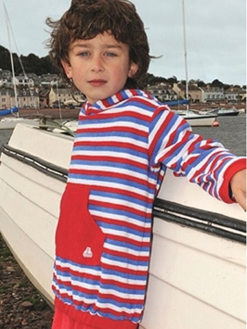 Mitty James Short Hooded Top - Red, White and Blue