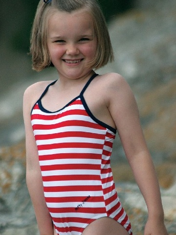 Mitty James Classic Swimsuit - Red and White Stripes