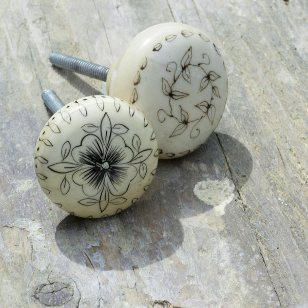 Hand Painted Bone Door Knobs