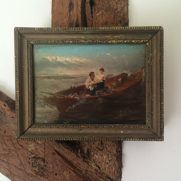 Small Vintage Framed Painting of Lovers on Boat