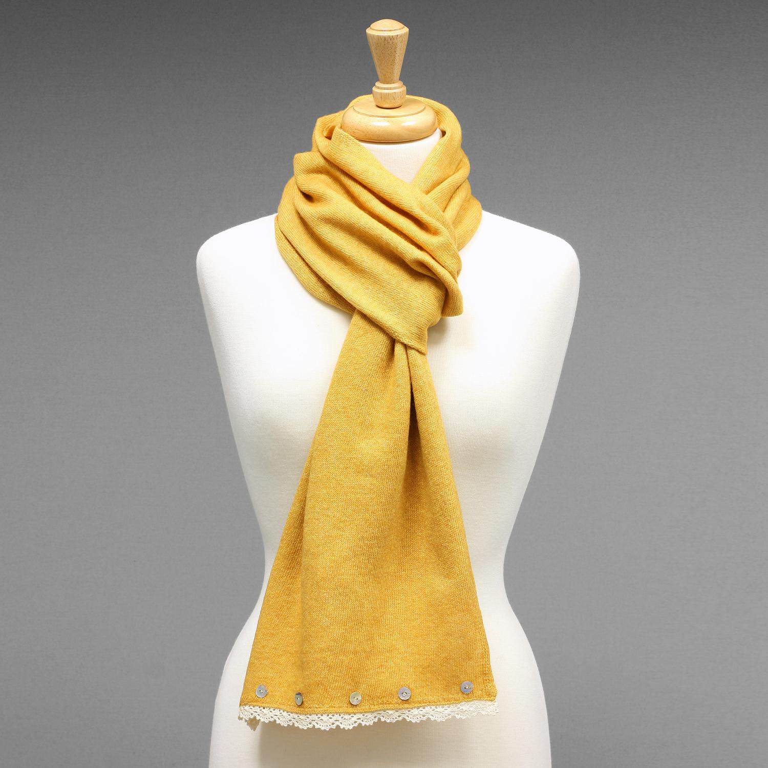 Avoca Buttons Scarf - Mustard