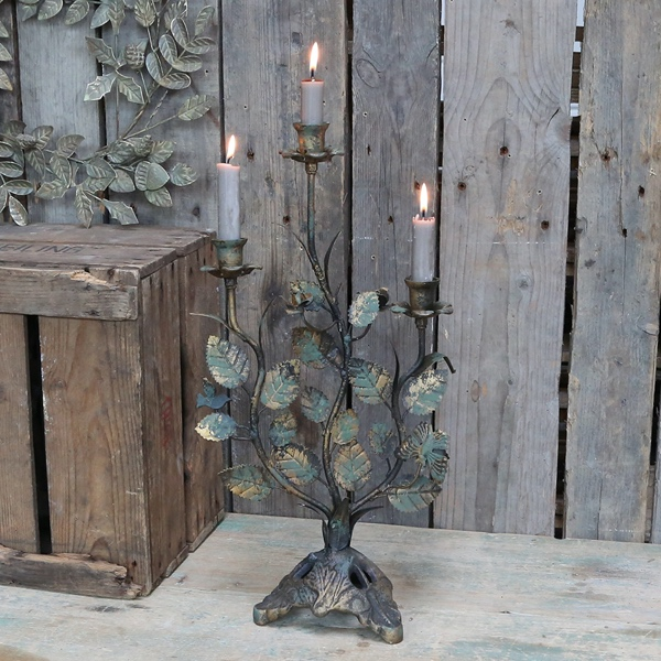 Large Ornate Candlestick with Leaves
