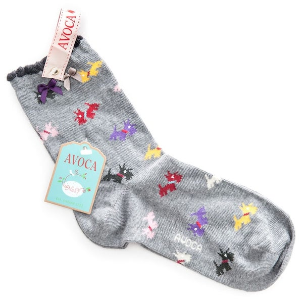 Avoca Scottie Ankle Socks - Grey