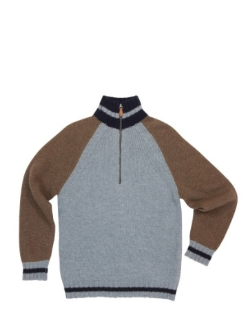 Little Legend Blue and Brown Wool Zip Sweater