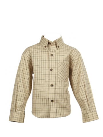 Little Legend Beige Cotton Checked Shirt