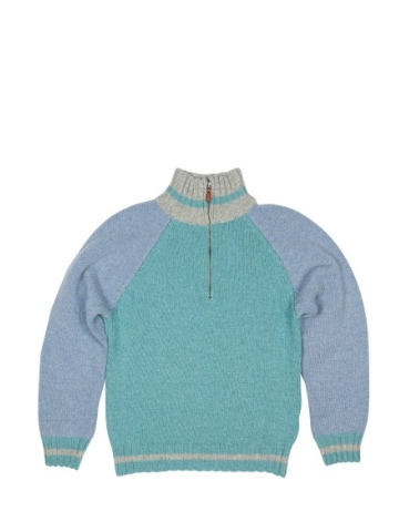 Little Legend Green and Blue Wool Zip Sweater