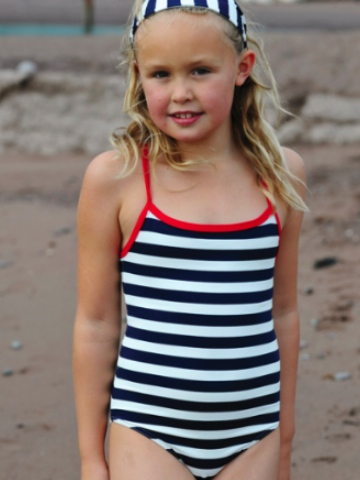 Mitty James Classic Swimsuit - Navy and White