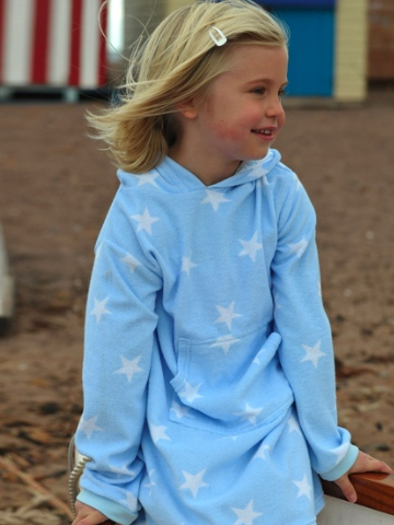 Mitty James Long Hooded Towelling Top - Sky Blue Stars