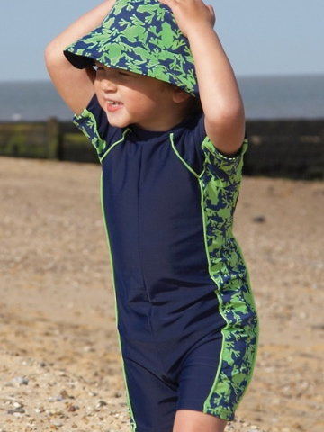 Mitty James All In One UPF Suit - Navy/Green Frog