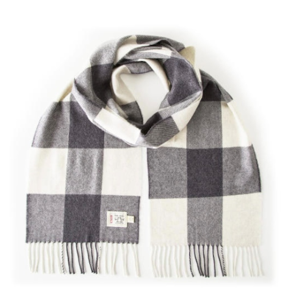 Avoca Grey Check Merino Scarf