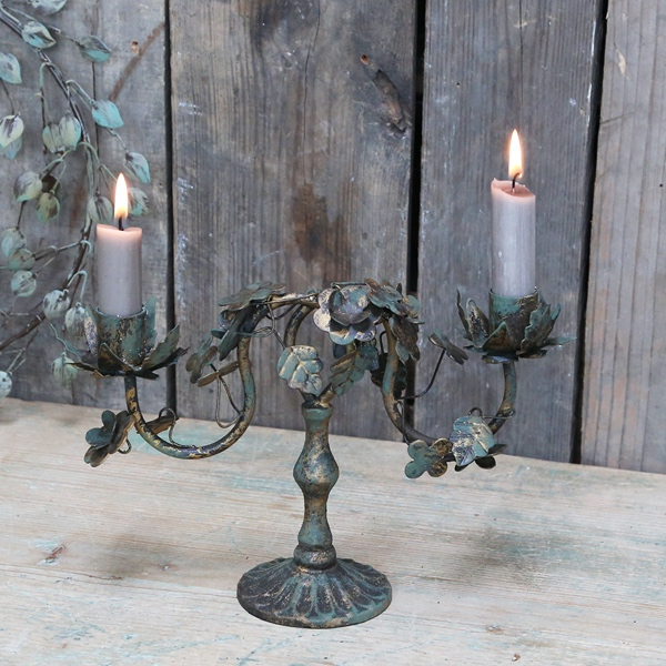 Small Ornate Candlestick with Leaves