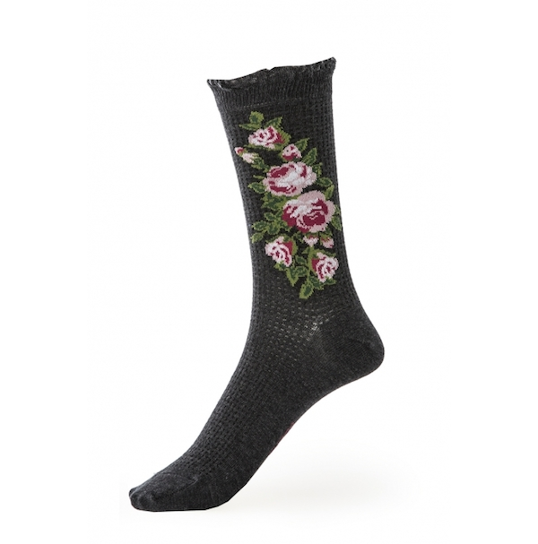 Avoca Thermal Flower Ankle Sock - Grey